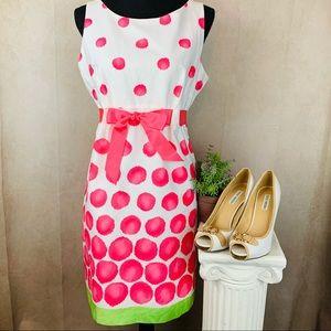 Kim Rogers | Fit & Flair Dress | Wht & Pink | 14P